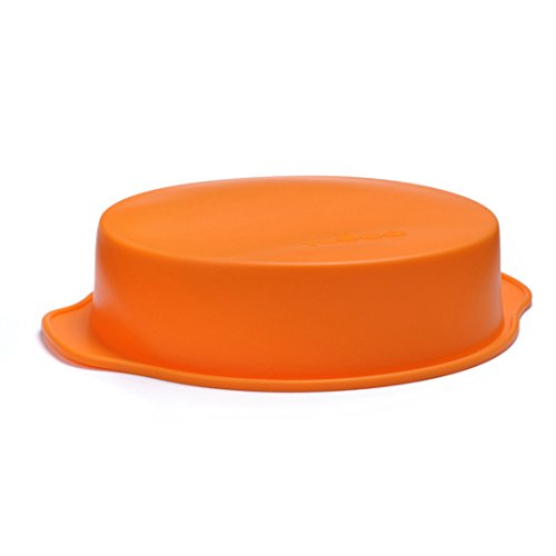 20cm (8 Inches) Silicone Round Cake Pan with Handle Suitable for All Types of Baking and Roasting Silicone Round Cake Baking Mold Pastry Brownie Pizza Pie Dessert Pan (Orange)