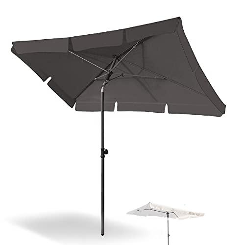 Magiea Sonnenschirm Balkon, 200x125 cm Balkonschirm Strandschirm, Gartenschirm Marktschirm, Terrassenschirm mit Drehstange & Schutzhülle, Anthrazit rechteckig UV50+ Schutz Sonnenschutzschirm