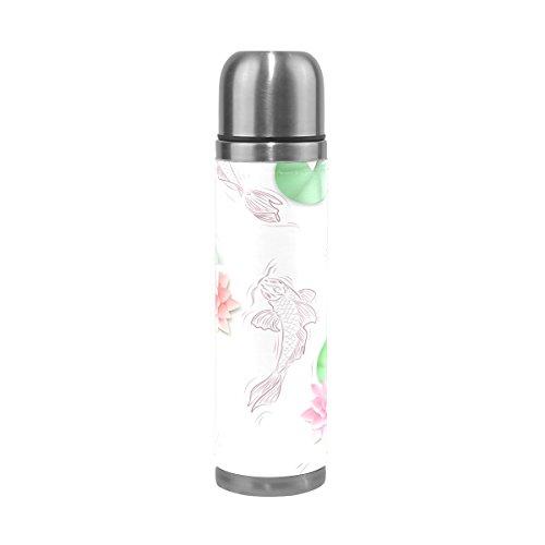 TIZORAX Koi Karpfen und Lotus Papier Blumen doppelwandige Vakuum Cup Isolierte Edelstahl-Flasche Travel Becher Thermos Kaffee Tasse 17oz
