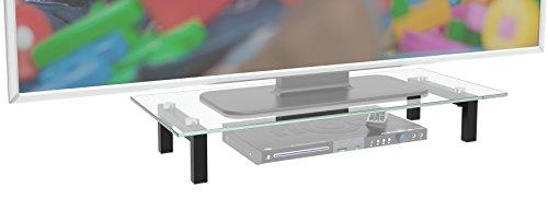 RICOO FS6028 C Meuble TV 60x28x10 cm Rehausseur ecran Universel Etagere Bureau Support Tablette pour Television ecran PC VerreNoir