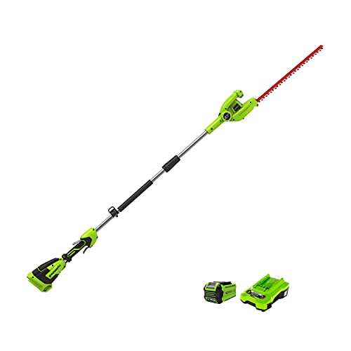 Greenworks Cortasetos de largo alcance G40PHA (Li-Ion 40V 51 cm longitud de espada 18 mm espaciado de corte 3000 cortes / min eje divisible de hasta 250 cm Incluye batería 2Ah y cargador)