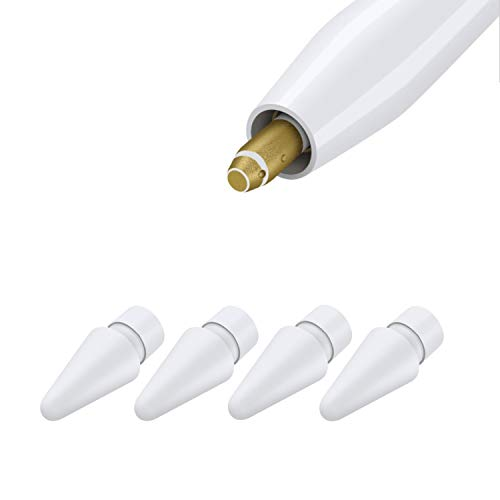 Dicas de substituição compatíveis com Apple Pencil 2 Gen iPad Pro Pencil, Logitech lápis digital Crayon - ponta Apple Pencil iPencil para iPad Apple Pencil 1 st/lápis 2 Gen White 4 pacotes
