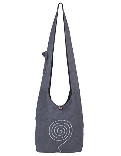 Vishes - Umhängetasche aus langlebiger, handgewebter Baumwolle mit aufgestickter Spirale - Unisex grau
