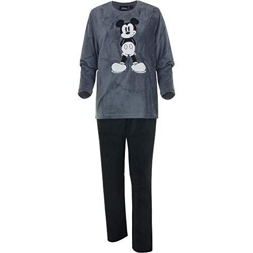 Mickey Mouse - Pijama de Mickey Mouse para hombre, dos piezas de forro polar de coral gris L