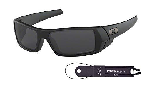 Oakley Gascan OO9014 Sunglasses For Men+BUNDLE with Oakley Accessory Leash Kit, Matte Black/Grey Polarized, 60