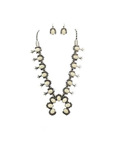 Jayde N' Grey Turquoise Squash Blossom Navajo Bohemian Womens Southwestern Statement Choker Necklace & Earrings Bundle: Set & Jewelry Bag (White XL)
