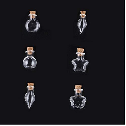 nJiaMe Tarros Favor 6pcs Cristal con El Corcho del Tapón Tapas Pequeño Vidrio Vacío Botella Tiny Tarros De Cristal con El Corcho Decorativo Deseo De Los Tarros De Cristal