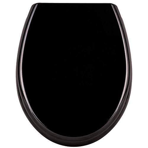 LZQ WC Sitz Toilettendeckel mit Absenkautomatik Toilettensitz Universal Größe Toilettensitz aus Hartplastik Antibakteriell Klodeckel aus Duroplast Schwarz