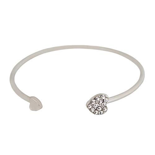 FWQW Women's Bracelet Heart Adjustable Rhinestone Open Cuff Heart Bangle Bracelet