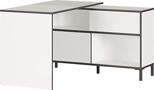 Germania Schreibtisch 4115-73 GW-LAREDO, in weiß/schwarz, integriertes Sideboard mit vier Fächern und zwei Schiebetüren, 120x76x120 cm (BxHxT)