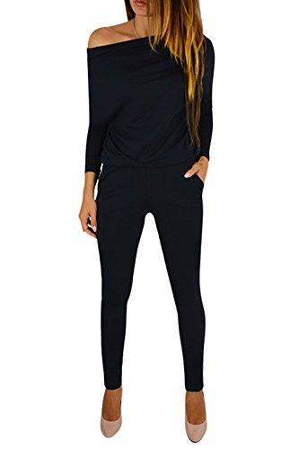 YOINS Femme Combinaison Pantalon Élégante Combishort Sexy Débardeur Bretelles Sarouel Pantalon Taille Jumpsuit Haute Épaules Nues Épaule-Noir XL