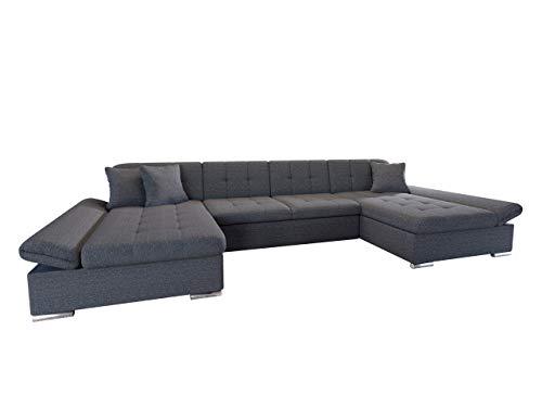 Mirjan24 Ecksofa Alia mit Regulierbare Armlehnen, 2 Bettkasten und Schlaffunktion, U-Form Eckcouch vom Hersteller, Sofa Couch Wohnlandschaft (Boss 12)