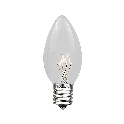 Novelty Lights 25 Pack C9 Outdoor Christmas Replacement Bulbs, Clear, E17/C9 Intermediate Base, 7 Watt…