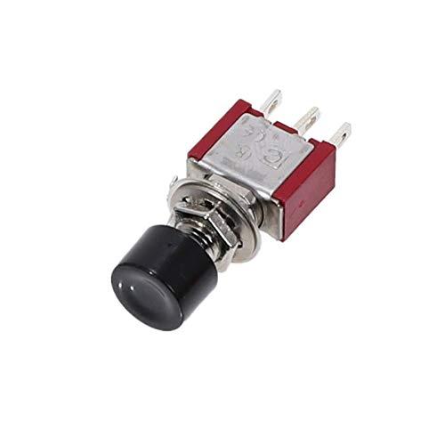 JSJJAUA Interruptor de Palanca 5pcs 3pin C-NO-NC 6MM Mini Momento Automático de Retorno automático Interruptor de pulsador ON- (ON) 2A 250VAC / 5A Switches de Palanca de 120VAC (Color : Black)