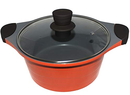 Alda Die Cast Non Stick Casserole 24CM with Glass Lid with...