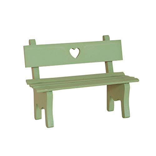 Vosarea Mini-Gartenbank, aus Holz, Miniaturstuhl, aus Holz, Landschaft, Dekoration, Zubehör für Fotoboth, DIY, Fotografie, für Party, Weihnachten, Geburtstag, Hochzeit, Grün