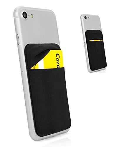MyGadget Porte Cartes - Anti signaux RFID - Pochette adhésive élastique avec Rabat pour Smartphone Wallet Universel pour Papiers & Fourre Tout Etui Noir