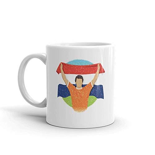 Dozili Grappige Koffiemok - Nederland Sportventilator Nederlands Voetbal Fans Keramische Koffiemok Beker, 11 Oz, Wit