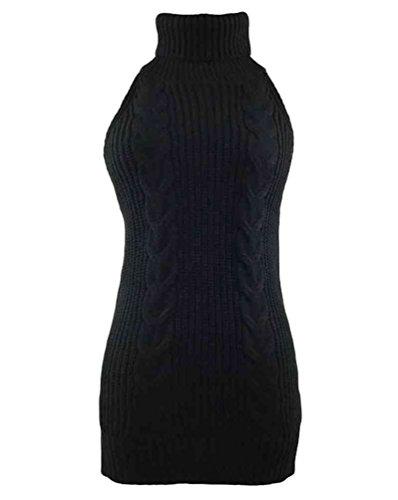 YOUJIA Frauen ärmel Open Back Sweater Anime Cosplay Pullover (Schwarz)
