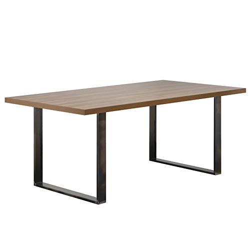i-flair Esszimmertisch Macon 160x90 cm Kufentisch Holztisch Esstisch Kufengestell Tisch mit Tischplatte und Kufen - alle Größen und Farben (Nussbaum + Industrial)
