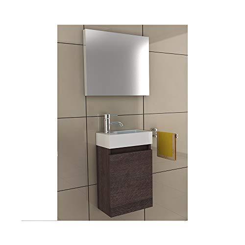 bad1a Waschbeckenunterschrank Badezimmer Möbel-Set 40x22 cm in Alamo Eiche, Waschplatz aus Mineralguss für kleines Gästebad von Alpenberger