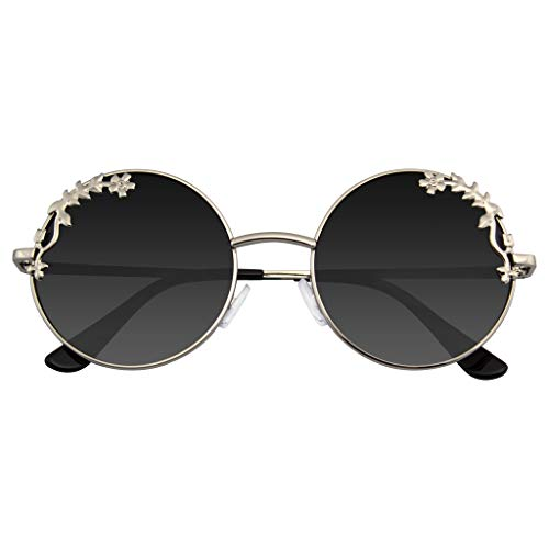 Emblem Eyewear - Womens Blume Floral Boho Runde Spiegel Sonnenbrille (Silber)