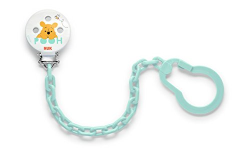 NUK Disney Winnie fopspeenketting met clip voor veilige bevestiging van de fopspeen aan babykleding, 1 stuk turquoise