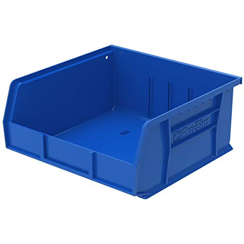 Akro-Mils 30235 AkroBins Plastic Storage Bin Hanging Stacking Containers, (11-Inch x 11-Inch x 5-Inch), Blue, (6-Pack)
