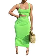 GAGA Women Spaghetti Strap Crop Top Bodycon 2 Piece Set Dres