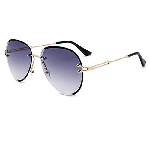 WERERT Gafas de Sol Deportivas,Sunglasses Women Rimless Pilot Crystal Sun Glasses Woman Uv400 Gray Gradient Sunglases