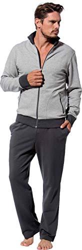Morgenstern Herren Hausanzug Freizeitanzug Trainingsanzug hellgraue Jacke und graue Hose Größe M