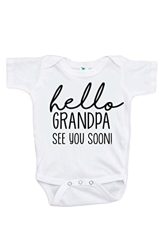 7 ate 9 Apparel Pregnancy Announcement Onepiece - Hello Grandpa, White, 0-3 Months