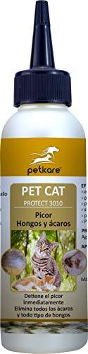 Peticare Gato Tratamiento Eficaz - 100% Biológico contra Picor, Hongos yAnti-Ácaros en Gatos, Demódex, Ácaros de la Sarna y Otras Especies, Detiene Picazon Fuerte - petCat Protect 3010