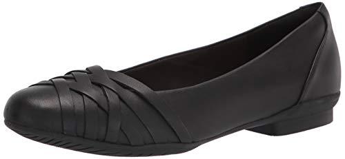 Clarks Women's Sara Clover Ballet Flat, Black Leather, 6