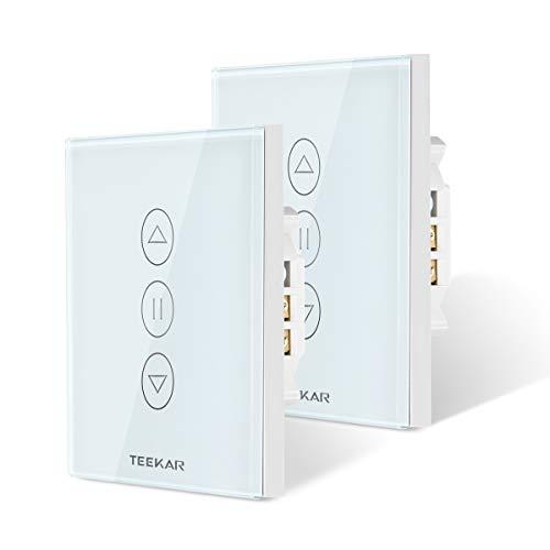 TEEKAR [3ª Generación] WiFi Interruptor Persiana, LED Controlable, Compatible Con Alexa Echo Y Google Assistant, Interruptor De Reloj De Obturador Para Motor De Obturador De Motor Tubular 2Pack