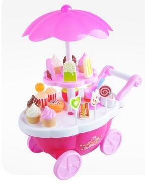 Pinzhi - Jeu D'imitation - Jouet Chariot Électrique Bonbons Rose Crème Glacée & Sucreries Jouet Jeu de Rôle pour Enfants