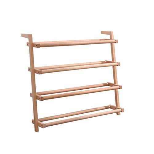 Anabei Zapatero de madera maciza de varias capas de madera maciza para la entrada de la puerta de entrada del hogar, ahorrando espacio, simple a prueba de polvo de gran capacidad, 4 niveles 69 cm