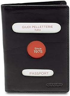 GIUDI ® - Porta passaporto in pelle vacchetta, vera pelle,portafoglio, Unisex Uomo Donna, Made in Italy, porta carte. (Nero)