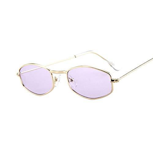 NJJX Gafas De Sol Rectangulares Con Montura Pequeña Para Mujer, Gafas De Sol De Metal Con Espejo Retro, Para Mujer, Vintage, Dorado, Morado