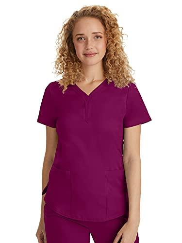 Purple Label by Healing Hands Scrubs Women's Jane V-neck 2 Pocket Top, Medium - Wine
