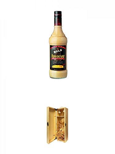 Bols Advokaat Eierlikör Holland 0,7 Liter + 1a Whisky Holzbox für 1 Flasche mit Hakenverschluss