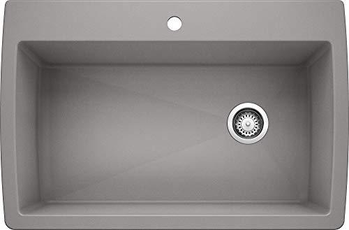 Blanco 440193 Diamond Super Single Bowl Kitchen Sink, Metallic Gray Finish