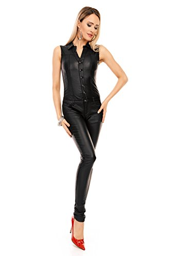 Mayaadi Damen Overall Hose Jumpsuit Einteiler Leder Look Party Latzhose Pants B50 Schwarz XL