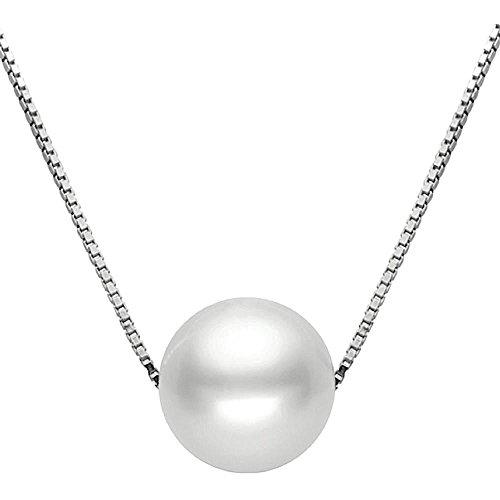 Kim Johanson Damen Perlenkette 'Selina' aus 925 Sterling Silber Anhänger & Kette inkl. Schmuckbeutel