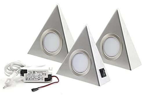 3er Set LED Dreieckleuchte Unterbauleuchte Küchenleuchte 3x 1.9W Neutralweiß mit Zentralschalter