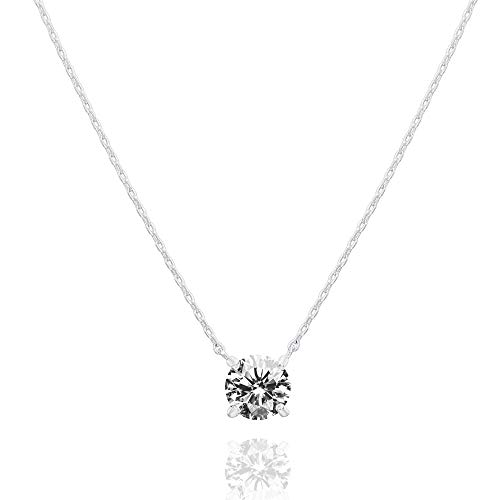 PAVOI 14K Gold Plated Swarovski Crystal Solitaire 1.5 Carat (7.3mm) CZ Dainty Choker Necklace   White Gold Necklaces for Women