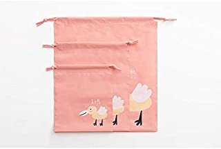 Travel Luggage Packing Organizer Waterproof Drawstring Bag 3 Size Set - Pink Duck