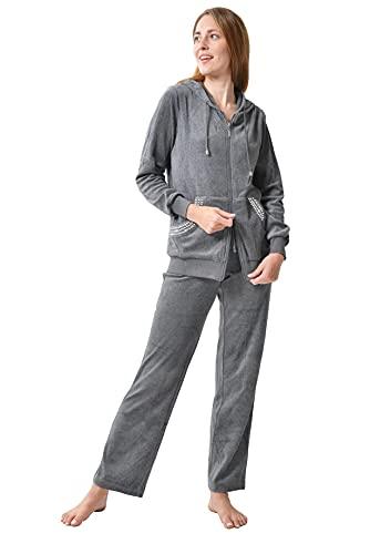 RAIKOU Damen Micro Velours Freizeitanzug Hausanzug mit Reißverschluss Nicki-Anzug Zweiteiliger Schlafanzug mit Strasssteinen (44/46, Grau Melange)