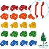 Pine View Playgrounds Rock Climbing Holds with Safety Handles   Premium Rock Wall Holds with Extended 2 Inch Hardware   Kids Playground Accessories for Swing Set or Tree House