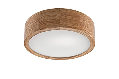 Lámpara de techo ARBARO de madera y cristal, diámetro de 27 cm, redonda, acogedora, E27, lámpara de madera, lámpara de techo para el pasillo, lámpara de salón